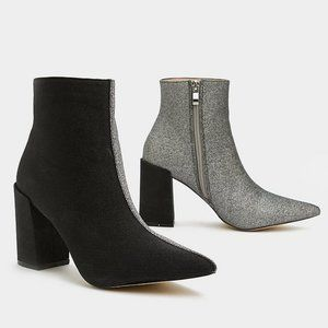 Nasty Gal 'Double Take' black/silver booties